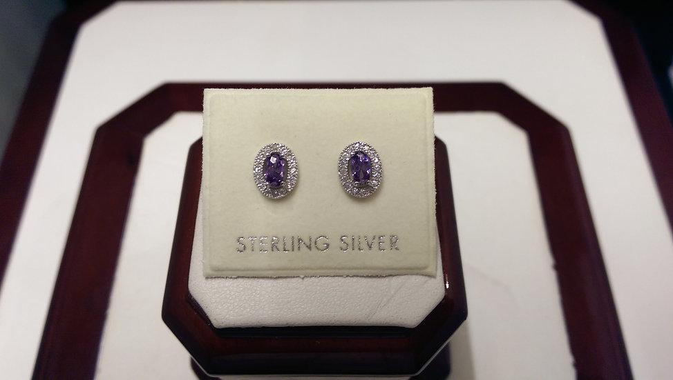 925 Sterling Silver Purple CZ Earrings