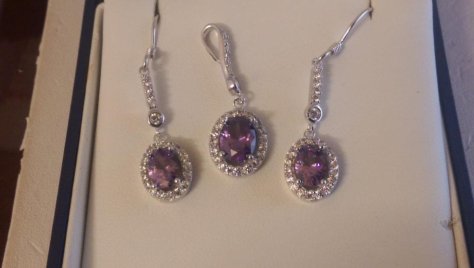 925 Sterling Silver Purple & White Cz Set