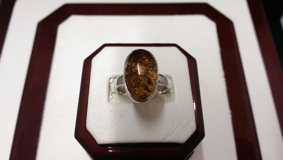 925 Sterling Silver Amber Ring
