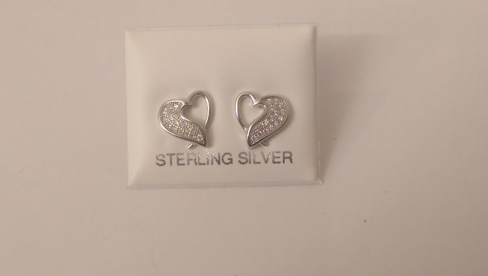 925 Sterling Silver Cz Heart Stud Earrings