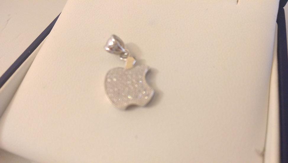 925 Sterling Silver White CZ Apple Pendant