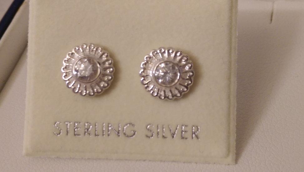 925 Sterling Silver Fancy CZ Earrings