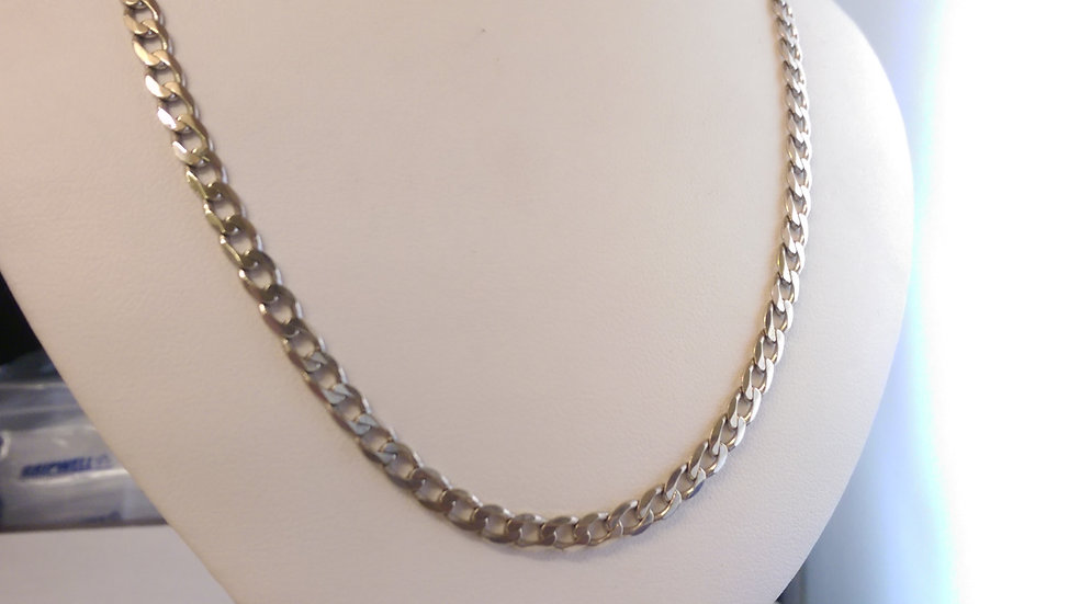 9ct White Gold Curb Chain 20 Inches