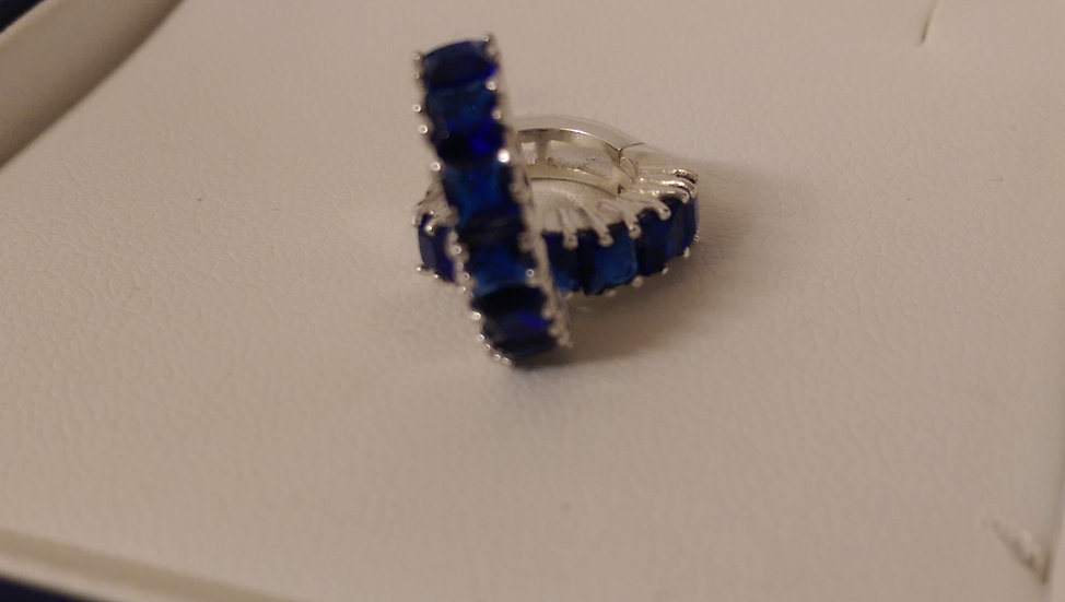 925 Sterling Silver Blue CZ Hoop Earrings