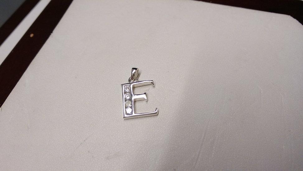 925 Sterling Silver Letter E Pendant