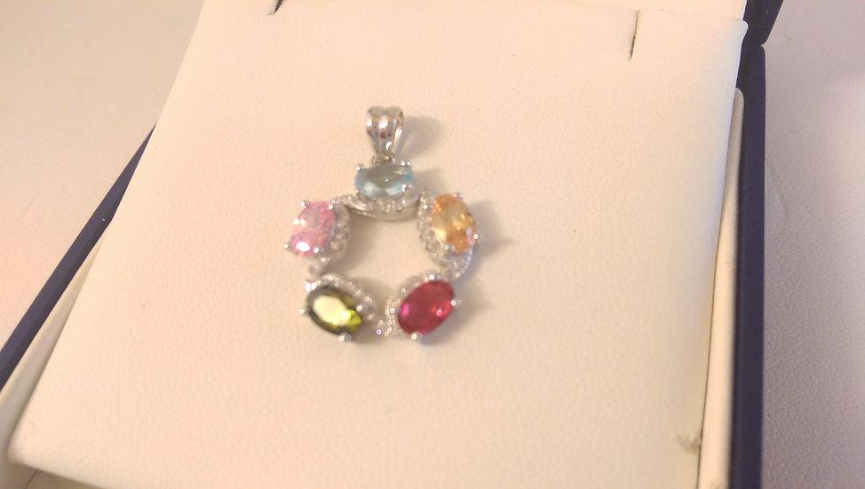 925 Sterling Silver Mutli Colour Pendant