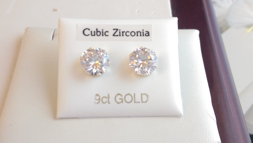 9ct Gold White CZ Earrings