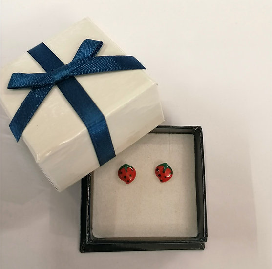 Silver Strawberry childrens earrings