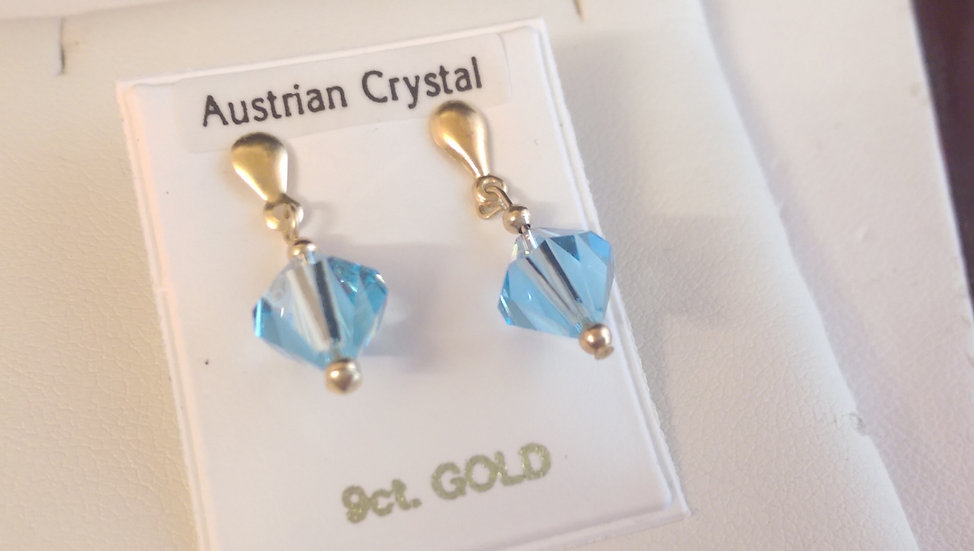 9ct Gold Blue Crystal Dropper Earrings