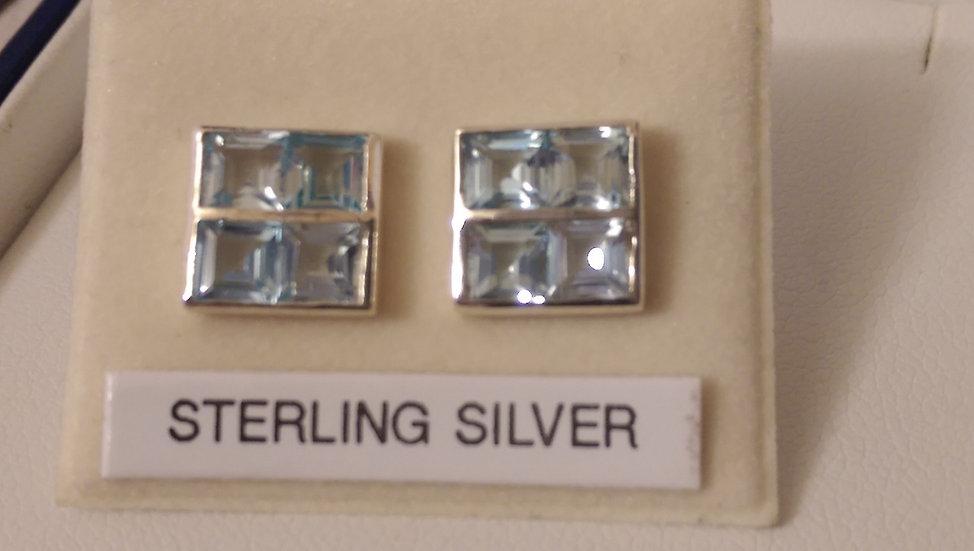 925 Sterling Silver Light Blue Aquamarine Earrings