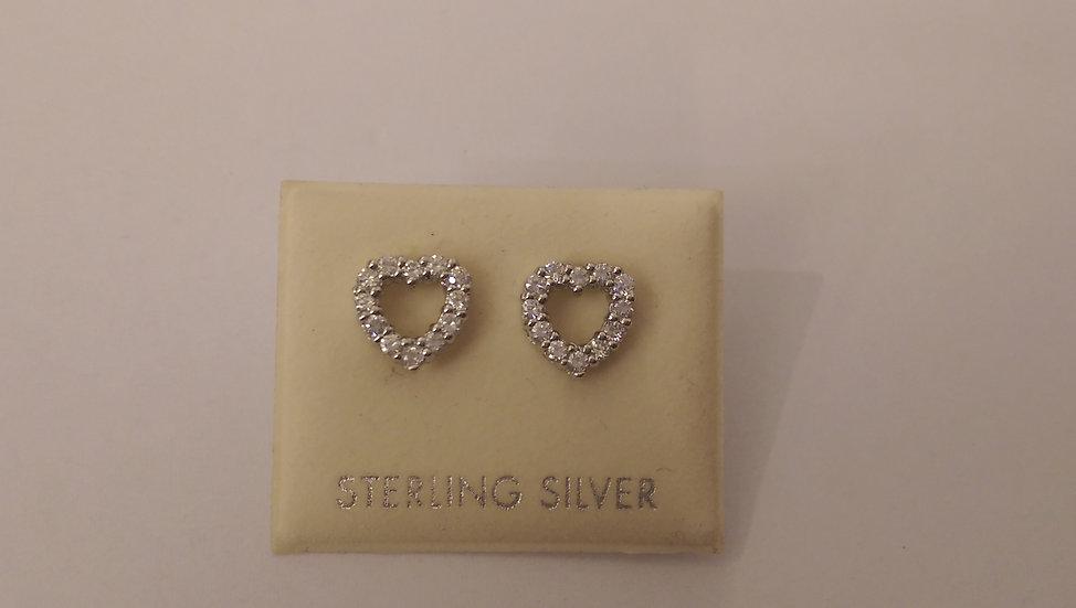 925 Sterling Silver White CZ Heart Stud Earrings