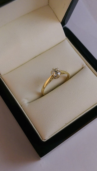 18ct Yellow Gold 0.40pt Single Stone Diamond Ring