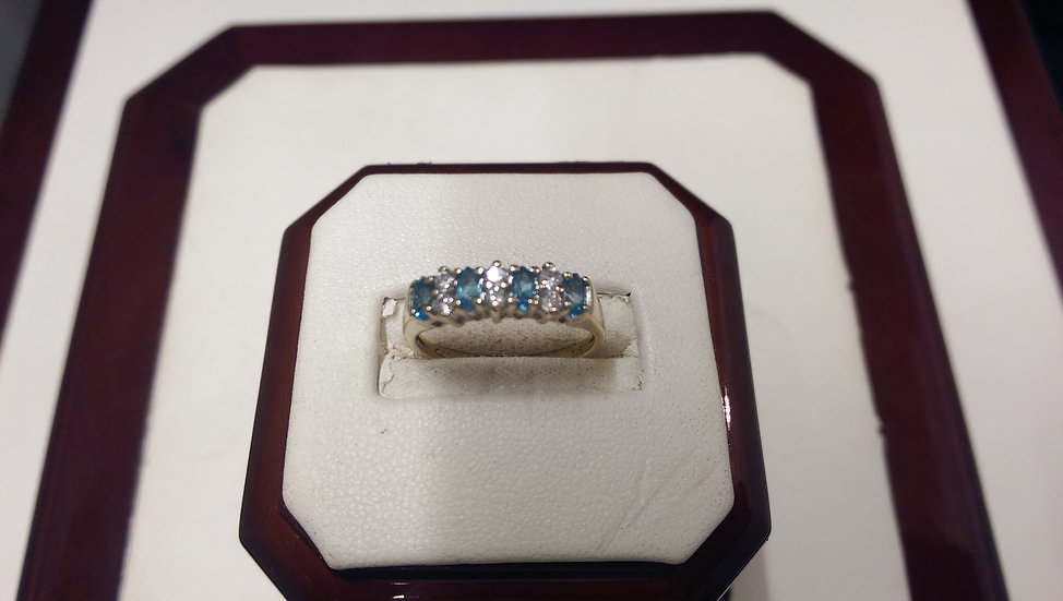 Second Hand 9ct Aquamarine & CZ Ring