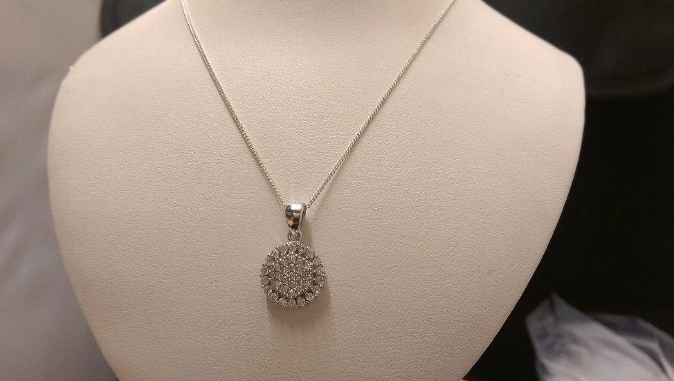 925 Sterling Silver White CZ Pendant & Chain