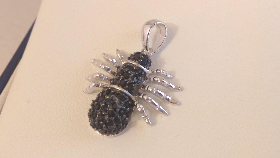 925 Sterling Silver Black CZ Pendant