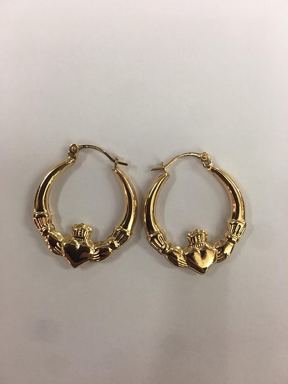 9ct Yellow Gold Claddagh small hoop earrings