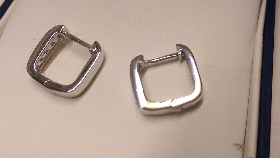 925 Stirling Silver White CZ Hoop Earrings