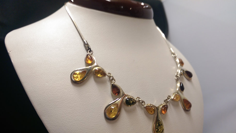 925 Sterling Silver Amber Necklace