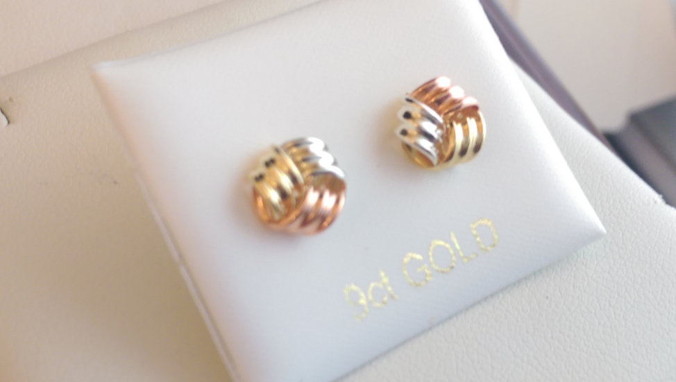9ct Three Colour Gold Earrings