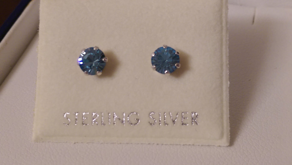 925 Sterling Silver Blue CZ Earrings