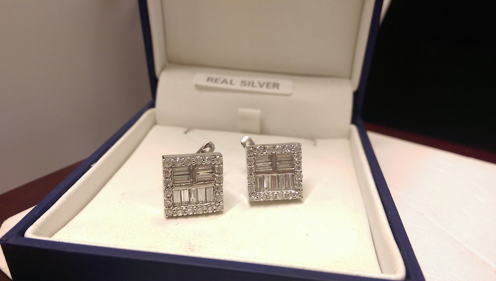 925 Sterling Silver White CZ Earrings