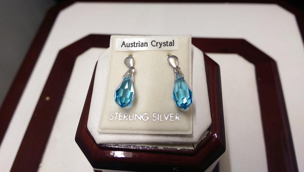 925 Sterling Silver Blue Crystal Earrings