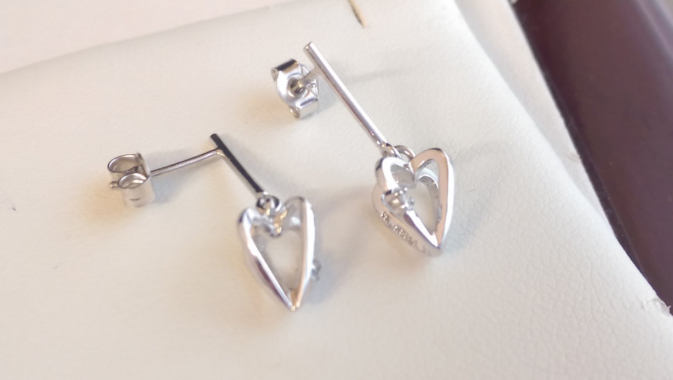 9ct White Gold Diamond Dropper Earrings