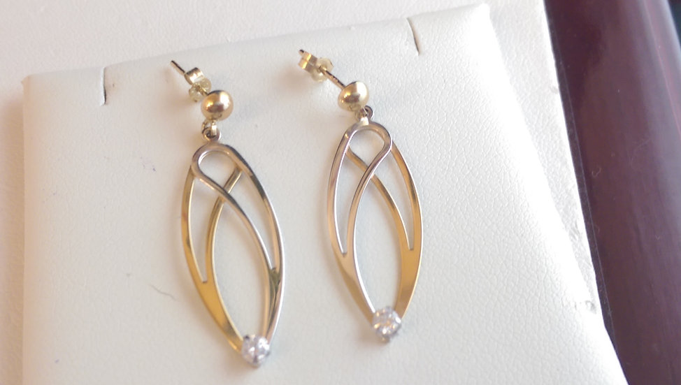 9ct Two Colour Gold CZ Dropper Earrings