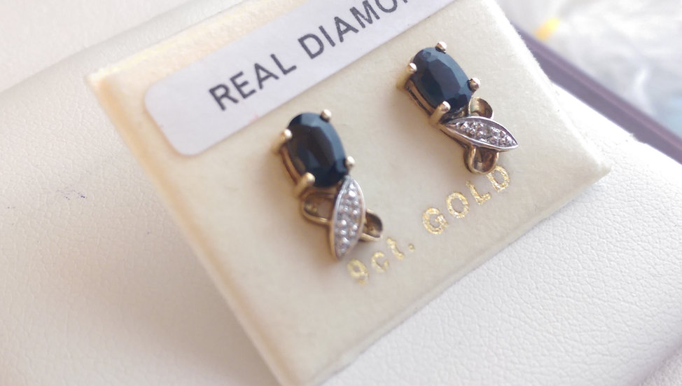 9ct Gold Sapphire & Diamond Earrings