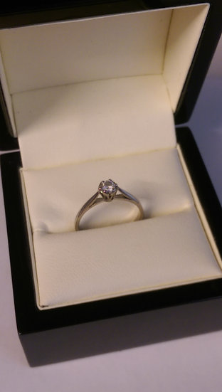 9ct White Gold 0.15pt Brilliant Cut Diamond Ring