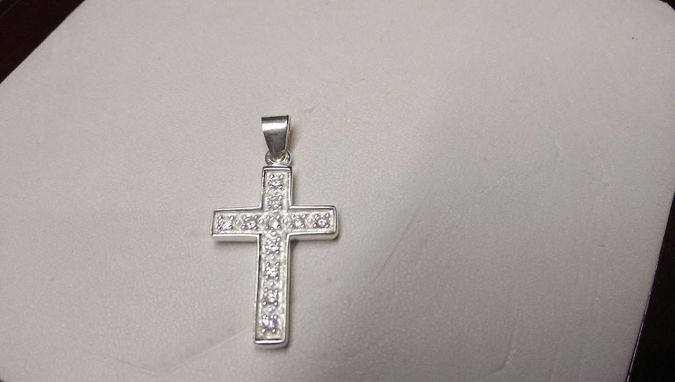 925 Sterling Silver White CZ Cross Pendant