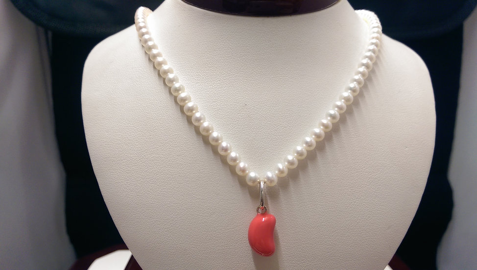 925 Sterling Silver Pearl Necklace 16 inches