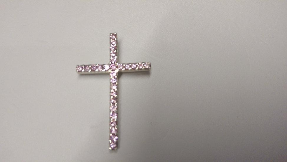 925 Sterling Silver Pink CZ Cross
