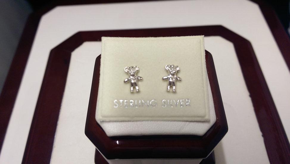 925 Sterling Silver Plain Teddy Earrings