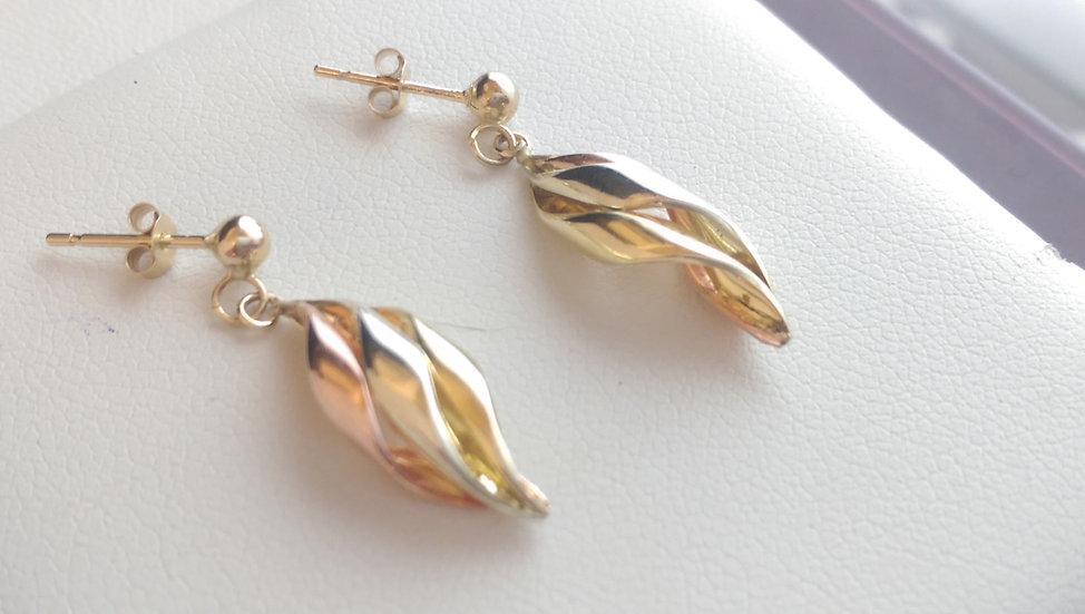 9ct Gold Three Colour Dropper Earrings