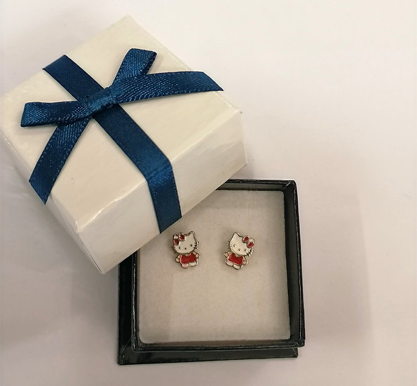 Hello Kitty Silver Childrens Earrings