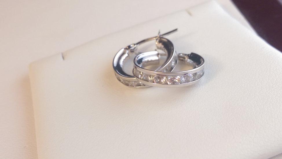 9ct White Gold CZ Hoop Earrings