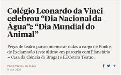 """Colégio Leonardo da Vinci celebrou """"Dia Nacional da Água""""e """"Dia Mundial do Animal"""""""