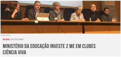 Ministério da Educação investe 2 ME em Clubes Ciência Viva