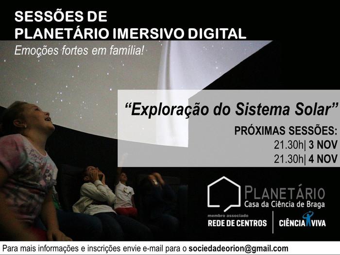 Sessões Planetário Imersivo 3 e 4 de novembro de 2017