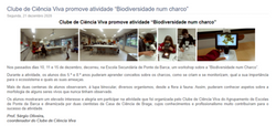 """Clube de Ciência Viva promove atividade """"Biodiversidade num charco"""""""