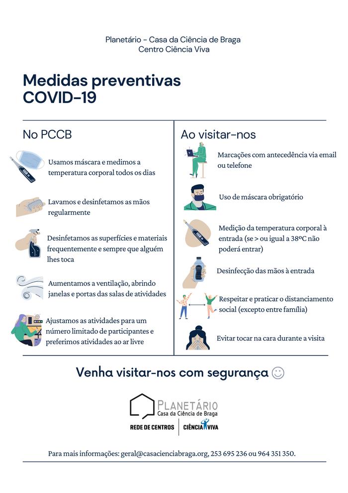 Medidas preventivas COVID-19 no Centro Ciência Viva de Braga
