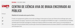 Centro de Ciência Viva de Braga encerrado ao público