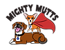 """""""Mighty Mutts"""" above MM logo: chihuaha wearing cape stands on smiling hound dog's back."""