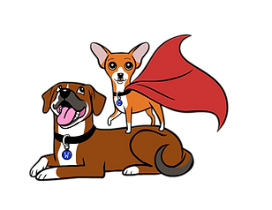 Mighty Mutts Logo: Cartoon of a smiling hound lying down. A chihuahua in a cape standing on his back