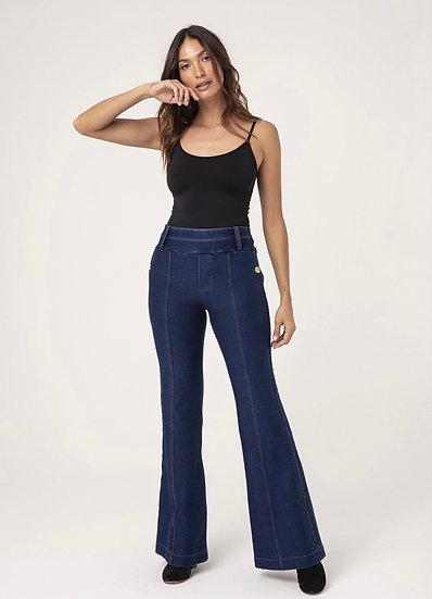 Calça Flare Malha Jeans Mel