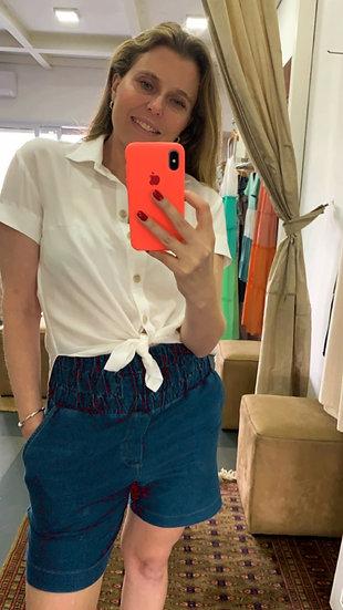 Bermuda Jeans Cós Franzido