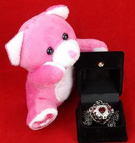 Heart w/ Ball Necklace & Bear Gift Set