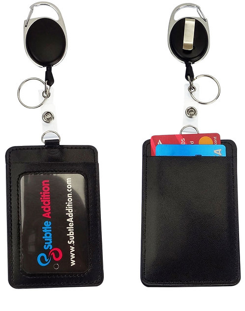 ID Badge Holder Reel Clip Retractable Carabiner, 2 Pockets, Black Leather 2 Pack