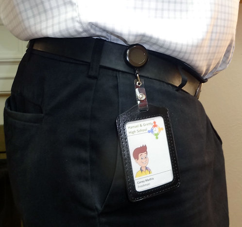 Retractable ID Badge Holder with Reel and Belt Clip for Name and ID Cards, 2pack